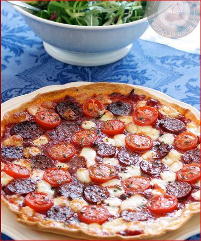 tarte chorizo et mozarelle tomates de frédéric anton