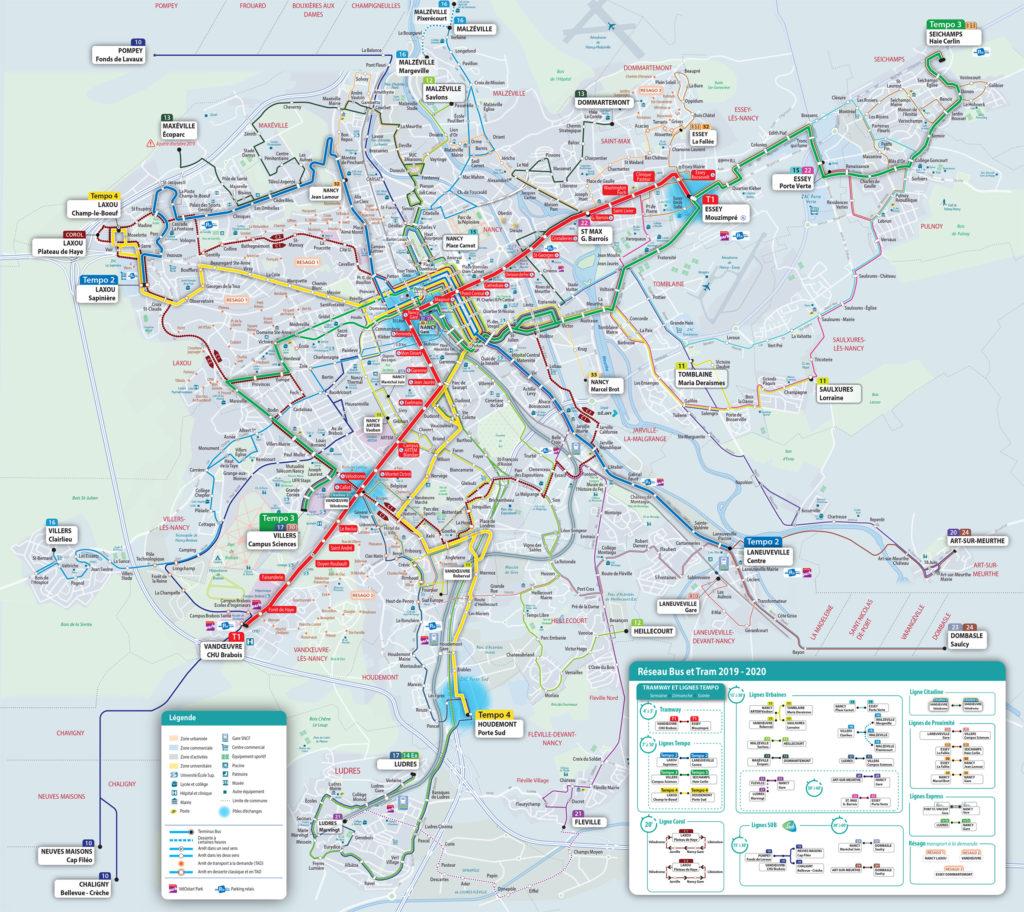 plan 2019 2020 du reseau stan nancy bus et tram